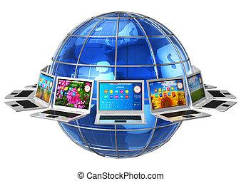 kommunikation, global, dator, begrepp