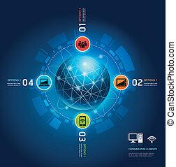 kommunikation, global, internet