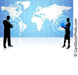 kommunikation, globale, forretningsmand, businesswoman