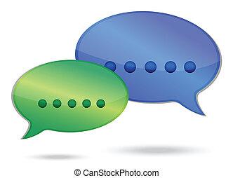 kommunikation, illustration, begreb