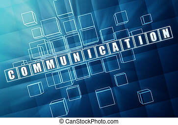 kommunikation, in, blaues glas, würfel