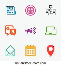 kommunikation, meddelanden, ikonen, nyheterna, pratstund, undertecknar