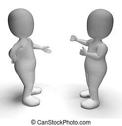 kommunikation, mellan, visande, två, diskussion, tecken, 3