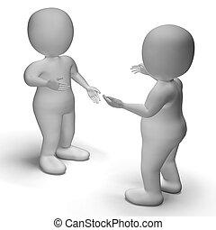 kommunikation, mellan, visar, två, tecken, konversation, 3