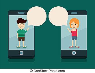 kommunikation, mit, smartphone
