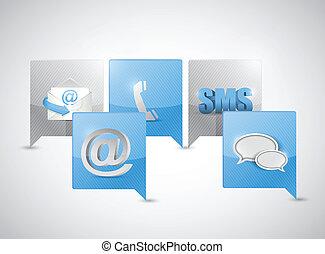 kommunikation, nachricht, begriff, blase