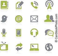 kommunikation, natura, icons.