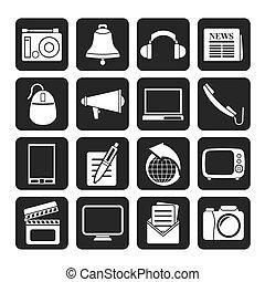 kommunikation, och, media, ikonen