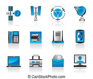 kommunikation, och, media, ikonen, sätta