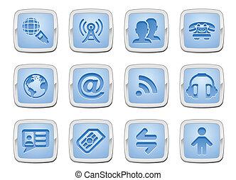 kommunikation, sätta, ikon