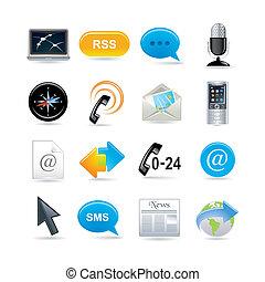 kommunikation, sätta, ikonen