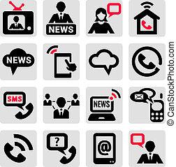kommunikation, sæt, iconerne