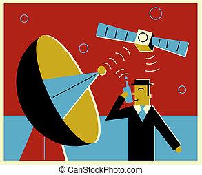 kommunikation, satellit, über, mann, communicatng