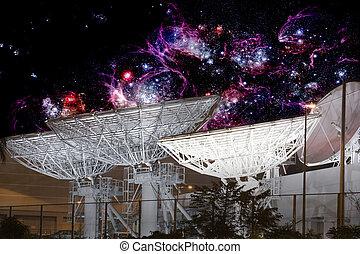 kommunikation, satellit, elektrisch, geschirr, leuchtsignale