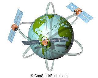 kommunikation, satellit