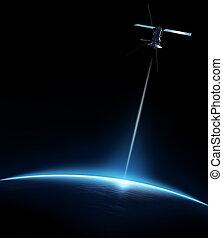 kommunikation, satellit, zwischen, erde