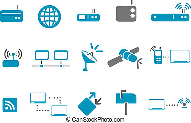 kommunikation, satz, ikone