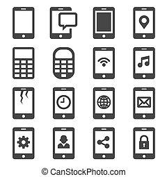 kommunikation, set., vektor, ikon, ringa