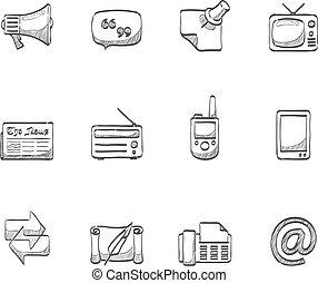 kommunikation, skiss, ikonen,  -, mer