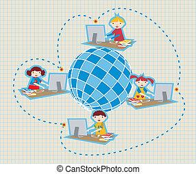 kommunikation, skole, globalt netværk, sociale