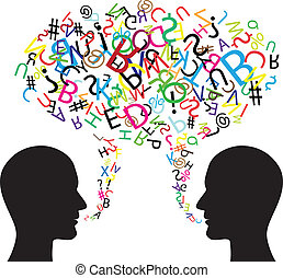 kommunikation, symbol