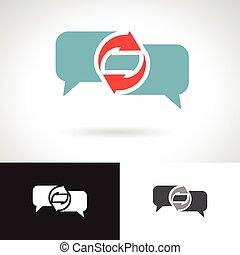 kommunikation, tale boble