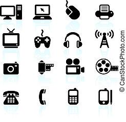 kommunikation, teknologi, elementer, konstruktion