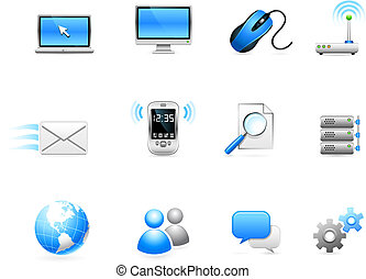 kommunikation, teknologi, kollektion, ikon