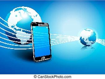 kommunikation, telefon, global, digital