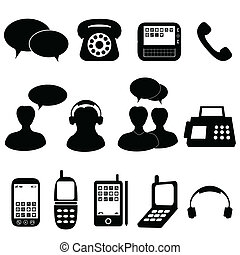 kommunikation, telefon, iconerne