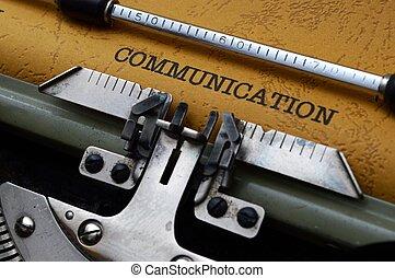 kommunikation, text, på, skrivmaskin