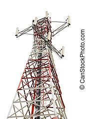 Kommunikation, Turm, weißes, hintergrund