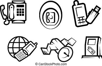 kommunikation, und, internetsymbole