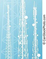 kommunikation, växellåda torn, radio teckna, ringa, antenn