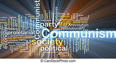 kommunism, ord, moln, glödande