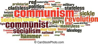 kommunism, ord, moln
