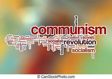 kommunism, ord, moln, med, abstrakt, bakgrund