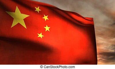 kommunistisch, porzellan- markierungsfahne, politik