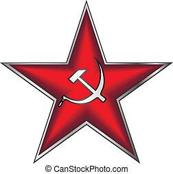 kommunistisch, stern, rotes