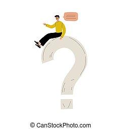 kommunizieren, person, problem, vektor, junger, groß, fragezeichen, abbildung, oder, wahlmöglichkeit, machen, loesung, mann, suchend, sitzen