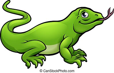 Komodo Dragon Lizard Cartoon Character - A Komodo dragon...