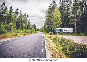 Komosse nature reserve in Sweden with a sign