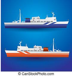 komp, hajó, vektor, eps10