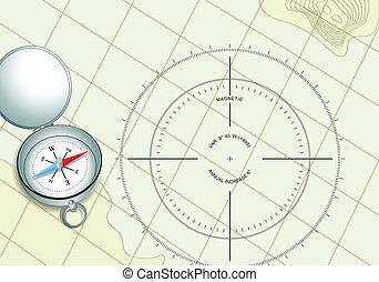 kompaß, auf, schifffahrt, landkarte