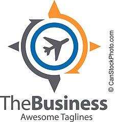 kompaß, erdball, logo, motorflugzeug, begriff