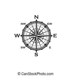 kompaß, symbol, weinlese, zeichen