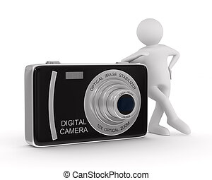 kompakt, avbild, isolerat, kamera., digital herre, 3