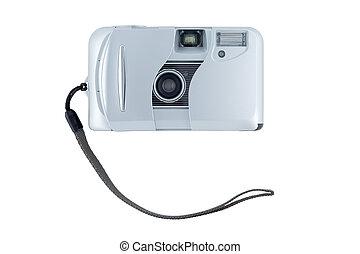 kompakt, bakgrund., vit, kamera, isolerat