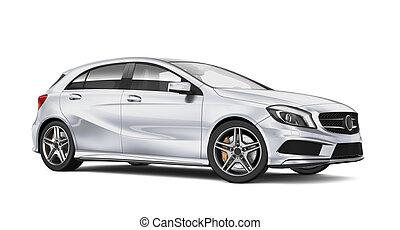 kompakt bil, nymodig, silver
