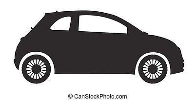 kompakt bil, silhuett